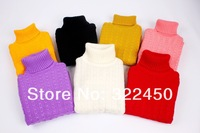 Retails(3-5Y) Children Girl's Fine Cotton High necked Knit Sweater,Warm Knitwear,Primer Shirt