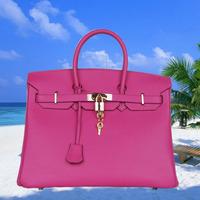 New Arrival! Classic Women's Orange Genuine Leather Tote Bag,Clemence Shoulder Bag,Female's Handbag,35cm