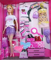 Free Shipping Fashion Doll Girls Toy cartoon plastic doll Gift Box for Barbie doll BBWWPJ0017