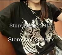 New 2014 Aura Models Sided Horse then fight Bat sleeve Chiffon wide Songma T-shirt TEE.