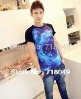 2013 Summer New Men T-shirt Starry Galaxy Space Print T Shirt Short Sleeve O-neck Men Top T M L XL Free Shipping