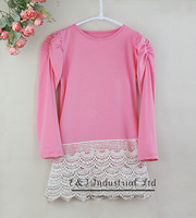 2014 Autumn Chindren Clothing Girl Dresses Pink Lace Dress With Long Sleeves Wholesale Toddle ClothingGD30721-16^^EI