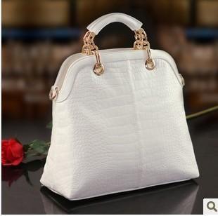 2014 New arrival Big brand Good Quality Crocodile pattern handbag women's fashion vintage Charming fashion white tote bags B9955(China (Mainland))