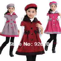 new 2013 autumn and winter dress child short-sleeve  Hat  dress woolen girl dress