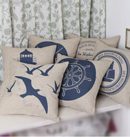 #608 Free shipping navy seaman cotton&linen  carton pillow case cushion cover min1pcs 45cm