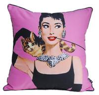 New Modern Luxury Pink Audrey Hepburn Cat Pet Shiny Necklace Tiffany Breakfast Decorative Pop Art Pillow Case Cushion Cover Sham