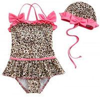 New baby girls Swimwear Leopard kids Swimsuit Bikini 1286