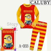 New style baby boys girls Cartoon minion pajamas kids jumpsuits bodysuit children sleepwear pyjamas 6sets/lot