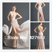 Hot Sale Popular Zuhair Murad Evening Dress Sweetheart Ruffle Side High Slit Chiffon Long Champagne Prom Dress