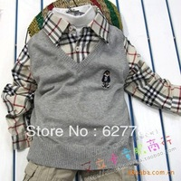 Sell like hot cakes! Free shipping children's clothing shirt off New England wind two paragraphs thin boy's sweater bear 5 color