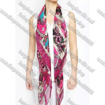 140x140cm big size fuxia women british scarf silk  chiffon  free shipping