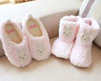 Momo rabbit plush slippers at home floor thermal shoes silent home slippers at home boots