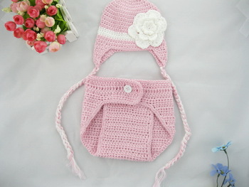 free shipping,Baby Girl Crochet Diaper Cover and Hat Set -pink hat with white flower newborn photography prop