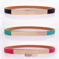 2014 fashion decoration long metal buckle belts women gold mirror belts
