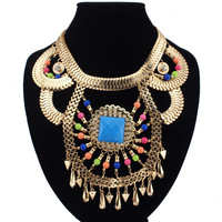 Fashion Boho Style Gold Chunky Chains Cross Rhinestones Colorized Resins Beads Exaggerated Pendant Necklaces 3 Colors CE1217
