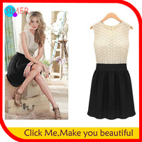 2013 Women's Lace Flower Patchwork Casual Dress Knee-Length Embroidery Tassel Dress