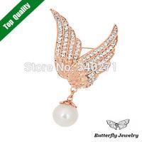 2014 New Fashion Brand Design Jewelry Austrian Crystal Pearl Brooch Angel Wings Brooch Pins For Women