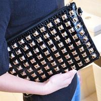 2014 New BrandPU Leather Party Handbags Women/Designer  Rivet Punk  Day Clutches Women Hangbags/Fashion Women Bags Black