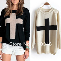 Free shipping new arrival women fashion Cross Pattern Knit Sweater outwear bottoming basic sweater casual loose Pullover tops