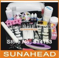 Promotion Free Shipping Pro Nail Art UV Gel Kits Tool UV lamp Brush Remover nail tips glue acrylic UW,HB-NailArt   big discount