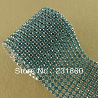 1 Yard 12 Rows Charming Aquamarine Diamond Mesh Clear Rhinestone Banding Trim
