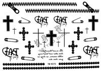 Tattoo stickers waterproof zipper pin cross tattoo k075