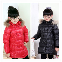 Free shipping 2013 children down jacket for girls high quality medium-long down coat thick winter jacket coat girl fur jacket