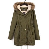 Free Shipping Faux fur lining women jackets Coat Winter Warm Hooded Military Army Green Oversized Long Cotton Padded Parka