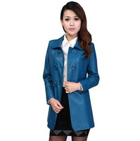 Autumn Slim Long Women's Leather Clothing Jackets 2013 Trench Coat With Belt Faux PU Leather Jacket Women Plus Size M-4XL