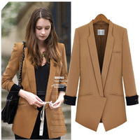 Western Style Suit Autumn Fashion Temperament Medium style Cultivate Show Thin Jaket Women's Suit S-XL Free Shipping