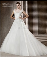 Wholesale - 2012 New Arrival Elie Saab Wedding Dresses A-line Square White Tulle Applique Bridal Gown