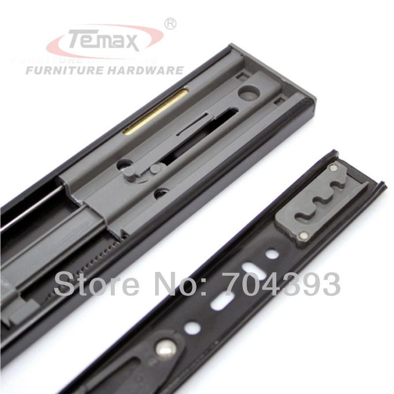 "10"" Soft Close Hydraulic Drawer Ball Bearing Sliding Track With Damper Black Cabinet Slides DB456F(China (Mainland))"