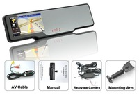 Car rearview mirror+GPS+HD 720P DVR recorder+Built-in radar detector+bluetooth talk+wireless parking camera+Free shipping