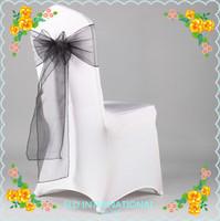Free shipping 200 Black  Organza Chair  Sash/Bow Wedding