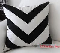 New White & Black Zig Zag Stripe Modern Fashion Art Decorative Pillow Case Cushion Cover Sham 45cm x 45cm