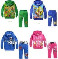 Retail Boys Turtles Pattern Hooded Hoodie Sweater + pants children outerwear SpongeBob tracksuit kids jackets & coats Ninja
