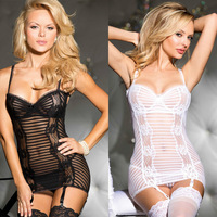 Sexy Exported to Europe Garter Belt Striped Transparent Bra Stripe Chemise With Garters Black/White I2709