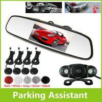 "Car Parking Sensor System With 4.3"" TFT LCD Rearview Mirror Monitor + Night Vision Rear View Camera + 4 Reversing Radar Sensors"