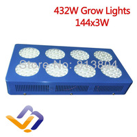 Led Grow Light 432W with 144pcs 3W leds,built with optical lens,best for Medicinal plants growth and flowering  Green house use