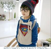 Kids Girls Boys 2 Pieces Set  2014 Sports Casual Suit superman hoodie+Pants children's Clothes Autumn Winter clothing BGT-252