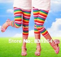 Free Shipping 2013 Summer Girls Rainbow Striped Ruffle Leggings Cotton Pants Trousers Kids Girls Underwear 3-10Years