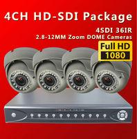 Free shipping by DHL, 4CH  Full HD1080P SDI DVR With 4PCS 36IR indoor  2.8-12MM digital security cameras KIt /sdi cctv cameras