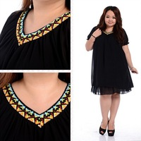 Folk Woven V Neck Dress Plus Size Fat Women Chiffon Short Sleeve Korean Fashion 2013 Female Summer Large Big Size Clothing