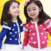 Free Shipping 2013  New Fashion The Autumn Spring Female Baby Kids Girls Long sleeve Single Breasted Lace Small Heart Cardigan