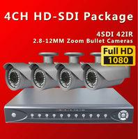 Free shipping by DHL, 4CH  Full HD1080P SDI DVR With 4PCS 42IR outdoor  2.8-12MM digital security cameras KIt /sdi cctv cameras