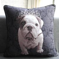 New Fashion Luxury Black Baroque Bull Dog with Crown Printed Art Pillow Case Decorative Cushion Cover Sham 45cm x 45cm