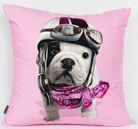 NEW Modern Luxury Fashion Decorative Art Pink Bulldog Bull Dog Diving Scarf Pop Art Cotton Pillow Case Cushion Cover Sham