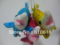 Free Shipping 3Pcs/Lot Triangle Hanging Fish Doll Cell Phone Bag Pendant Keychain Cartoon Plush Stuffed Toy Promotion Gifts