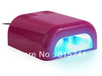 Free Shipping 36w Curing Nail Dryer UV Lamp Light Salon Spa Acrylic Gel Shellac 36 Watt Pink/hot pink EU plug