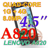 New arrival Lenovo A820 unlocked android mobile phone Quad core smartphone 4.5 inch Russia /* A830 P770 in stock